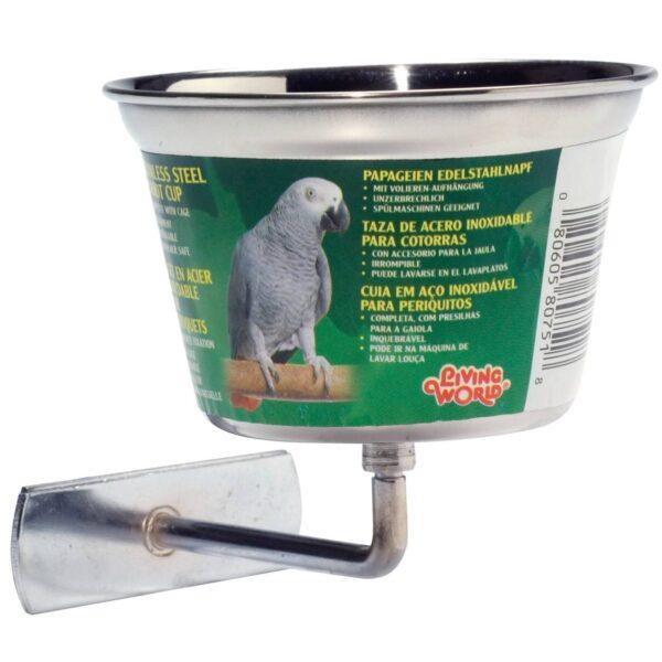 Купа-неръждаема стомана-средна за Ара,Какаду, Жако-400 мл. Хранилки и Поилки Оборудване-Аксесоари Всички продукти