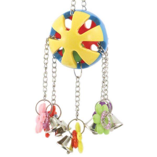 Весела топка със звънчета – Играчка за папагали Играчки Големи видове папагали Играчки Средни и Малки папагали Всички продукти